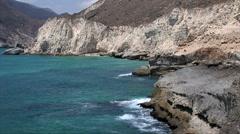 The coastline of Jebel Qamr in Oman Stock Footage