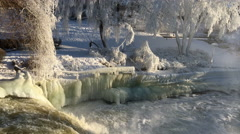 Winter waterfall, 4k Stock Footage