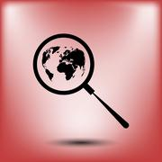 Analyzing the world. Magnifier glass with globe - stock illustration