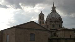 View of Curia Iulia and Chiesa dei Santi Luca e Martina dome in Rome Stock Footage
