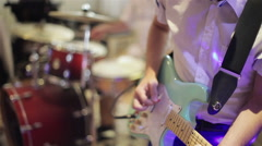 Guitar. Instrument playing band of men. Stock Footage