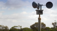 Weather station anemometer wind speed gauge Stock Footage