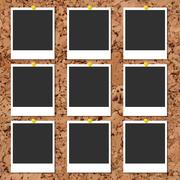 Vector cork board with photo cards and color pin - stock illustration
