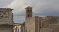 View of Arch of Constantine and tower of Basilica di Santa Francesca Romana in Stock Footage