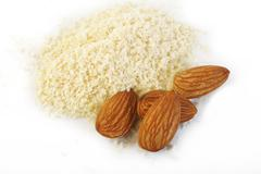 Ground almond and almond Stock Photos