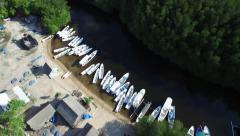 CINEMATIC 4K AERIAL TILT SHOT FLYING OVER BOATS AND MANGROVE FOREST Stock Footage