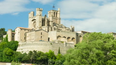 Beziers in a spring day, zooming timelapse Stock Footage