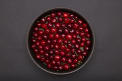 Top view of red cherries Stock Photos
