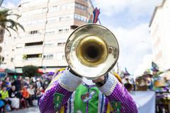 Trumpet musician at Badajoz Carnival, Spain Stock Photos