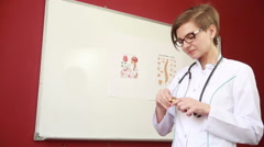 Medicine pills. Doctor or nurse showing medical pills Stock Footage