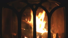Fire in a fireplace. - stock footage