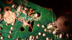 Stock Video Footage of circuit board microchip resistors