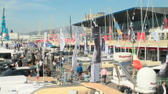 Panoramic view of Genoa Boat Show area Stock Footage
