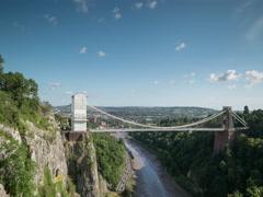 Clifton suspension bridge bristol uk transport gorge nature Stock Footage