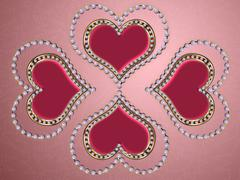 Four hearts of pearls Stock Illustration