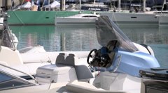 Detail of fast rubber boat docked during Genoa Boat Show Stock Footage
