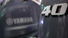Detail of outboard engines exhibited at Genoa Boat Show Stock Footage