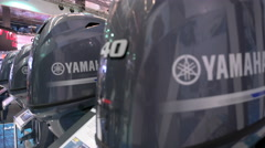 Outboard engines exhibited at Genoa Boat Show Stock Footage