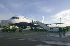Awaiting Boeing 757 - stock photo