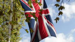 Great Britain flag is hanged in the air. - stock footage