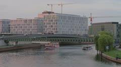Berlin Spree River Traffic Scene At Sunset Stock Footage