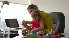 5 Woman In Career With Little Baby In Office Stock Footage