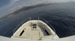 On board front view of a fishing boat navigating Stock Footage