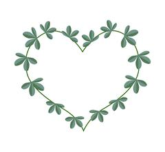Green Leaves in A Heart Shape Wreath - stock illustration