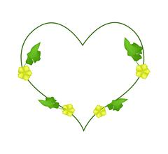 Ivy Plant with Blossoms in Heart Shape Stock Illustration