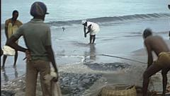 Martinique 1976: people working on a fish net on the beach Stock Footage