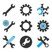 Configuration Tools Flat Bicolor Vector Icons Stock Illustration
