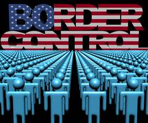 Border Control text with American flag and crowd of people illustration Stock Illustration