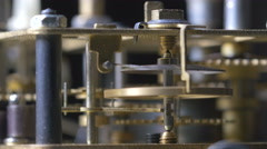 Close-up of a vintage clock mechanism running Stock Footage