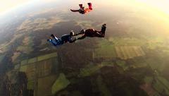Team of Skydivers jump from the Airplane - stock footage