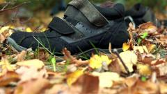 Slowmotion view on lonely sneaker lies in woods Stock Footage