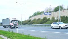 Slowmotion view on truck goes on highway  - stock footage