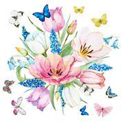 Watercolor raster spring flowers Stock Illustration
