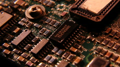 Circuit board microchip resistors Stock Footage