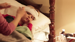 Little Boy Home Sick In Bed Stock Footage