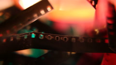 pile of old film strip close macro - stock footage