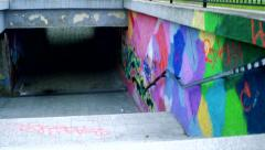 Slowmotion detail view on staircase leads to the underpass  Stock Footage