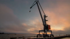 Timelapse of Crane in Cargo Harbor. Stock Footage
