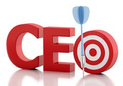 3d CEO word with red target. Business concept. Piirros
