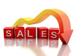Stock Illustration of 3d Red arrow falling value sales