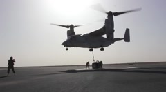 Soldiers Practice MV-22 Osprey Tilt Rotor External Cargo Lifts Stock Footage