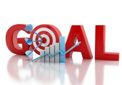 3d Business goal text and red target. Stock Illustration