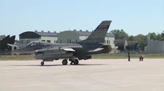 "F-16 fighter jet ""Hot Pit"" Refueling at Łask Air Base, Poland Stock Footage"