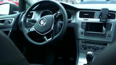 Slowmotion view on steering wheel, gear lever and technology in car. Stock Footage
