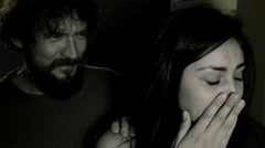 Woman desperate about drunk husband in the dark Stock Footage