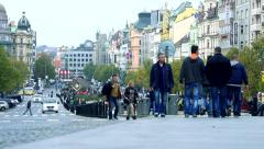 Slowmotion people go on Wenceslas square in historical centre in Prague Stock Footage